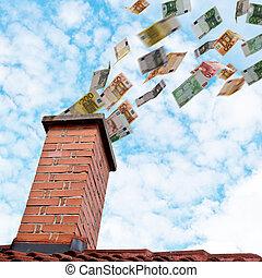 euro, dinero vuela, abajo, el, chimenea