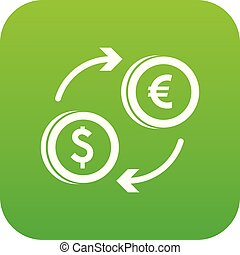 Euro dollar euro exchange icon digital green