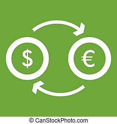 Euro dollar euro exchange icon green