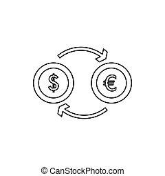 Euro dollar euro exchange icon, outline style