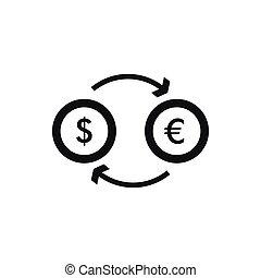 Euro dollar euro exchange icon, simple style