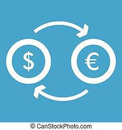 Euro dollar euro exchange icon white