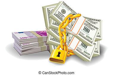 Euro Dollar locked - paper money euro dollar at gold lock...