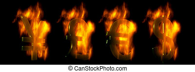 Euro, Dollar, Pound And Yen Symbols Burning