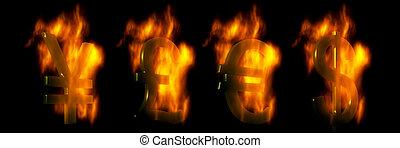 Euro, Dollar, Pound And Yen Symbols Burning
