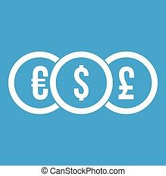Euro, dollar, pound coin icon white
