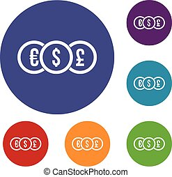 Euro, dollar, pound coin icons set