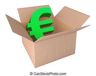 euro, em, aberta, caixa