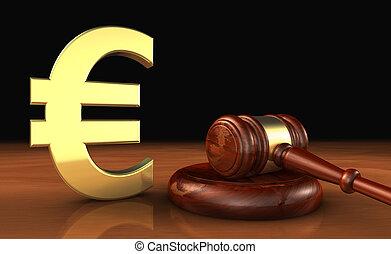 euro, et, droit & loi, symbole, cout, de, justice, concept