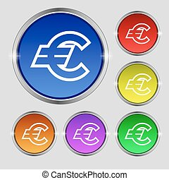 Euro EUR icon sign. Round symbol on bright colourful buttons. Vector