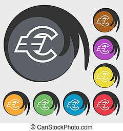 Euro EUR icon sign. Symbol on eight colored buttons. Vector