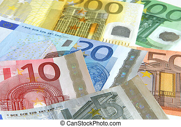 euro - Euro currency, 5, 10, 20, 50 100, 200 bills