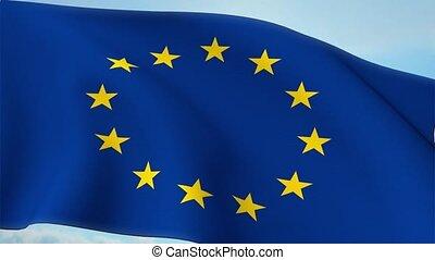 Euro Europe Flag Closeup Waving Against Blue Sky Eurozone EU...