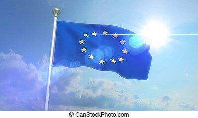 Euro Europe Flag Waving Eurozone EU European Union 4k