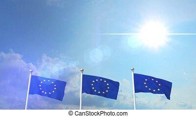 Euro Europe Flag Waving Eurozone EU European Union