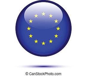 Euro flag button isolated on white