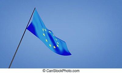 euro flag low angle