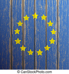Euro flag painted on old wooden background
