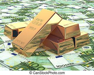 euro, fondo, oro, lingotti, banconote.