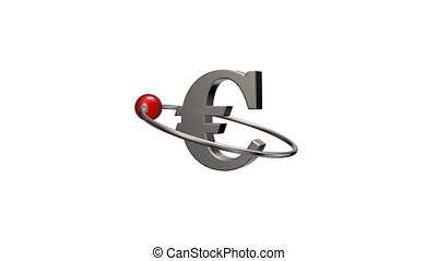 euro - red sphere fly around metal euro symbol - 3d...