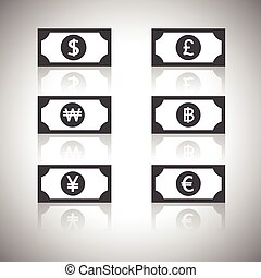 euro, funt, pieniądze, jen, dolar, -, zwyciężył, ikona, baht