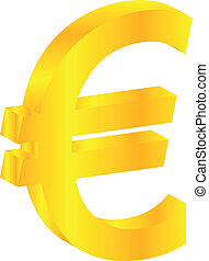 Euro Gold Currency Sign Isolated On White
