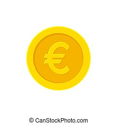 Euro golden coin. Flat icon isolated on white