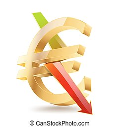 euro golden symbol with falling arrow sign