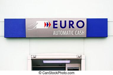 euro, gotówka maszyna, znak