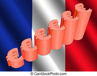 euro graph on French flag - euro symbol graph on French flag...