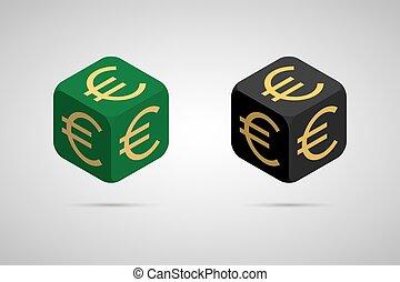 Euro. Green and Black Euro Cube