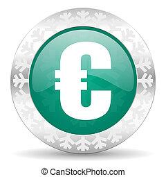 euro green icon, christmas button
