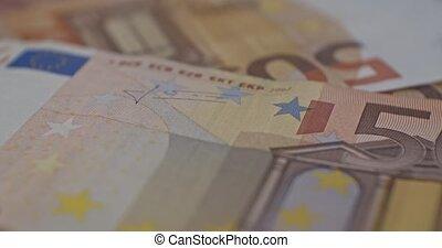 euro, gros plan, détails, eur, monnaie, billet banque, 50
