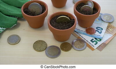 Euro Growing Money in Pots Concept - Close up shot of Euro...