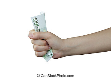 Euro - Hand squeezing a banknote of 100 euro
