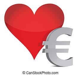 euro heart illustration design over