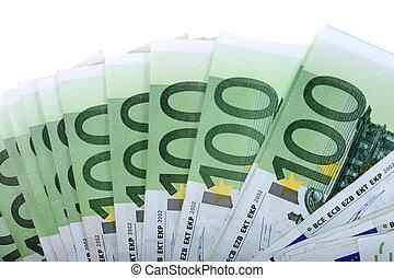 euro., honderd, achtergronden, een