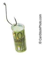 Euro hunting - Conceptual image of hundred euro banknote ...