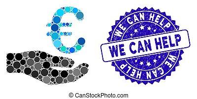 euro, icône, boîte, mosaïque, aide, donation, détresse, nous, cachet