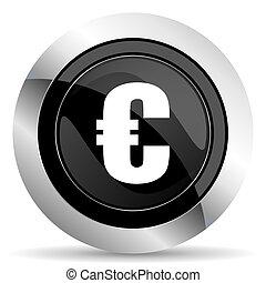 euro icon, black chrome button