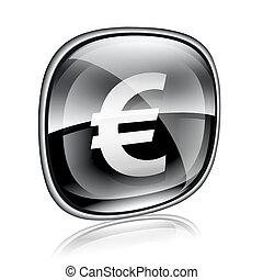 Euro icon black glass, isolated on white background