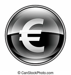 Euro icon black, isolated on white background