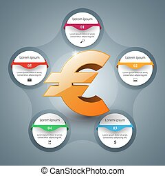 Euro icon. Business Infographics, Vector illustration.