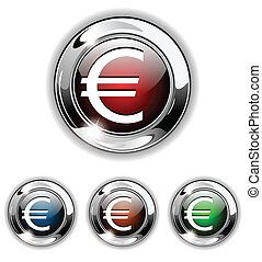 Euro icon, button, vector illustrat