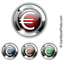 Euro icon, button, vector illustrat