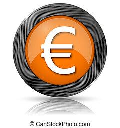 Euro icon - Shiny glossy icon with white design on orange...