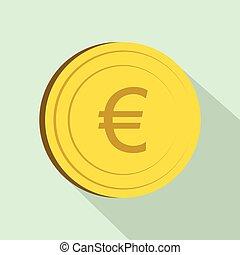 Euro icon, flat style