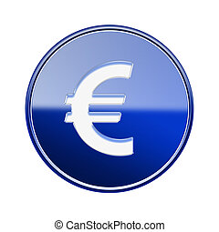 Euro icon glossy blue, isolated on white background