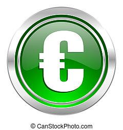 euro icon, green button