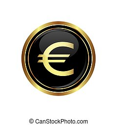 Euro icon on black with gold button